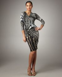 Roberto Cavalli | Natural Pin-neck Leopard Jersey Dress | Lyst