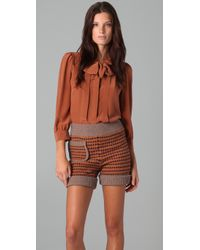 See By Chloé | Brown Long Sleeve Neck Tie Blouse | Lyst