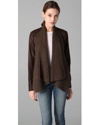 VINCE | Brown Drape Front Leather Jacket | Lyst