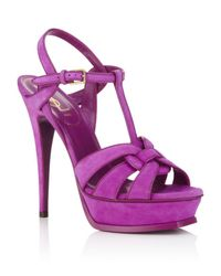 Saint Laurent | Purple Tribute Suede Sandals | Lyst
