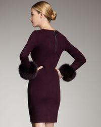 Alice + Olivia   Brown Sutton Fur-cuff Dress   Lyst