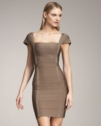 Hervé Léger - Green Square-neck Bandage Dress - Lyst