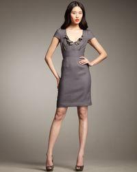 Rebecca Taylor - Gray Essential Ruffle-neck Dress - Lyst