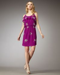 Rebecca Taylor | Purple Daisy-print Silk Dress | Lyst