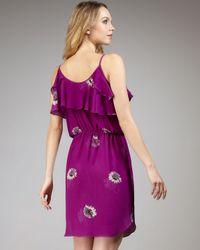 Rebecca Taylor | Purple Daisy-print Silk Dress | Lyst