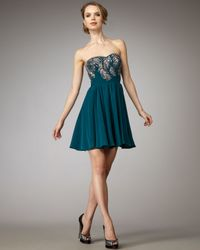 Rebecca Taylor | Blue Beaded-feather Party Dress | Lyst