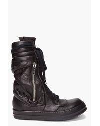 Rick Owens - Black Cargo Basket Boots for Men - Lyst