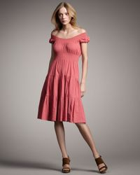 Theory - Pink Crunch-ruffle Dress, Coral - Lyst