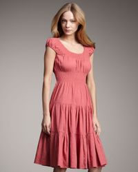 Theory | Pink Crunch-ruffle Dress, Coral | Lyst