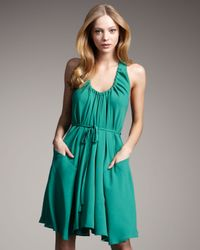 Theory | Green Silk Halter Dress | Lyst