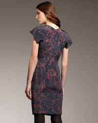 Theyskens' Theory - Purple Printed Flutter-sleeve Dress - Lyst