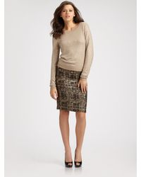 Alice + Olivia | Brown Simpson Metallic Bouclé Skirt | Lyst