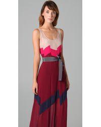 BCBGMAXAZRIA | Red Runway Bon Voyage Long Color-blocked Chiffon Dress | Lyst