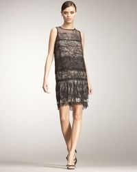 Bottega Veneta | Black Tiered Lace & Fringe Dress | Lyst