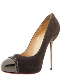 Christian Louboutin | Brown Metal-stiletto Suede Pump | Lyst