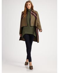 Derek Lam | Green Wool Cape Jacket | Lyst