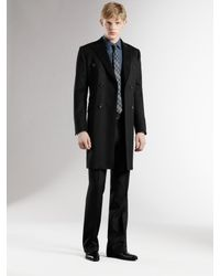 Gucci - Black Double-breasted Wool Coat for Men - Lyst