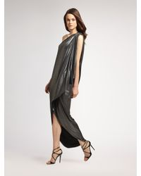 Halston | Metallic Asymmetric Lamé Maxi Dress | Lyst