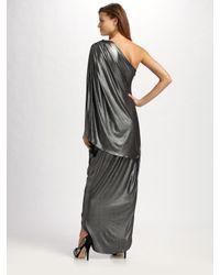 Halston - Metallic Asymmetric Lamé Maxi Dress - Lyst