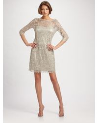Kay Unger | Metallic Beaded Lace Dress | Lyst