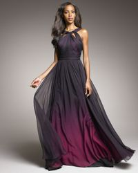 Monique Lhuillier | Purple Shirred Ombre Gown | Lyst