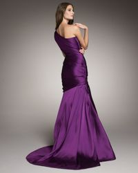 Monique Lhuillier | Purple One-shoulder Drape Gown | Lyst