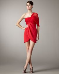 Notte by Marchesa | Red One-shoulder Chiffon Draped Dress | Lyst