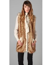 Rachel Zoe | Brown Long Faux Fur Vest | Lyst