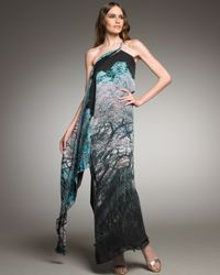 Roberto Cavalli | Blue Graphic-print Cross-shoulder Gown | Lyst
