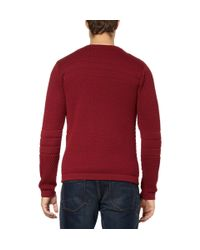 S.N.S Herning - Red Torso Waffle Knit Wool Sweater for Men - Lyst