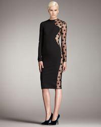 Stella McCartney - Black Polka-dot Sheer Knit Dress - Lyst