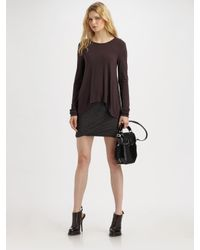T By Alexander Wang | Gray Ruched Twist Skirt - Charcoal | Lyst