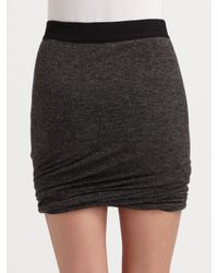 T By Alexander Wang - Gray Ruched Twist Skirt - Charcoal - Lyst