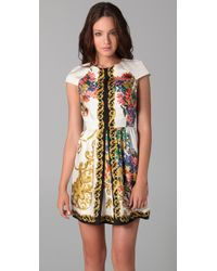 Tibi - Multicolor Baroque Print Dress with Cap Sleeves - Lyst