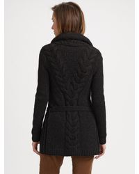 VINCE | Black Chunky Cable Knit Cardigan | Lyst