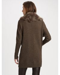 Vince | Brown Fur-collar Cardigan | Lyst