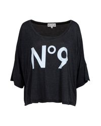 Wildfox | Gray No 9 Cropped Tee | Lyst