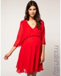 ASOS Collection | Red Asos Maternity Chiffon Kaftan Dress | Lyst