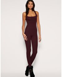 ASOS Collection | Purple Asos Slash Back Unitard | Lyst