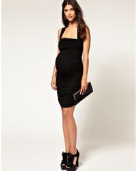 ASOS Collection | Asos Maternity Exclusive Black Ruched Wrap Bust Dress | Lyst