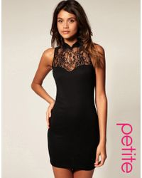 ASOS Collection | Black Asos Petite Dress with High Neck Lace | Lyst