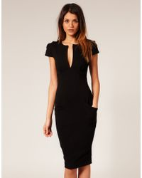 ASOS Collection | Black Asos Ponti Pencil Dress with Pockets | Lyst