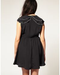 ASOS Collection - Black Asos Curve Tea Dress with Scallop Detail Collar - Lyst