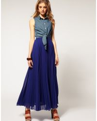 ASOS Collection | Blue Asos Pleat Maxi Skirt | Lyst