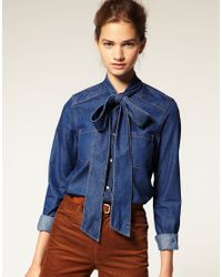 ASOS Collection | Blue Asos Pussy Bow Denim Blouse | Lyst