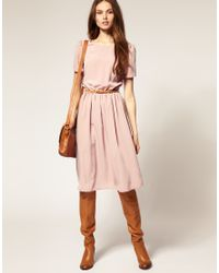 ASOS Collection - Pink Asos Soft Skirt Midi Dress with Short Sleeves - Lyst
