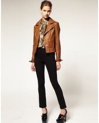 ASOS Collection | Brown Asos Leather Biker Jacket | Lyst