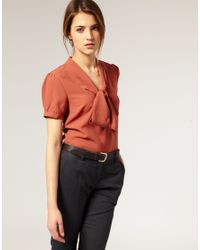 ASOS Collection | Brown Asos Pussybow Short Sleeve Blouse | Lyst