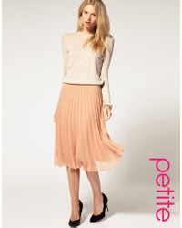 ASOS Collection | Natural Asos Petite Pleated Midi Skirt | Lyst