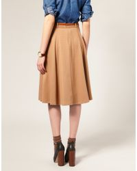 ASOS Collection - Natural Asos Midi Tailored Belted Ponti Fit and Flare Skirt - Lyst
